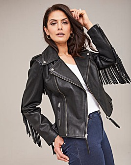 Joanna Hope Fringe Leather Jacket
