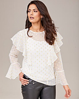 Joanna Hope Metallic Spot Blouse with Camisole