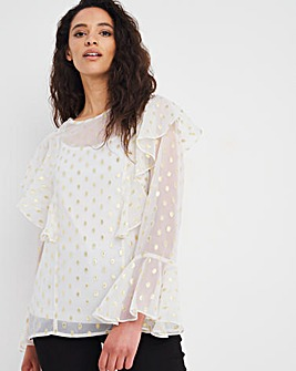 Joanna Hope Metallic Spot Blouse
