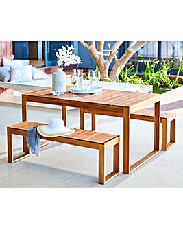 Malmo Acacia Table and Bench Dining Set