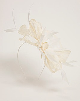 Feather And Bow Mesh Disk Fascinator