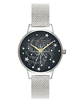 Olivia Burton Midi Starburst Silver Mesh Watch