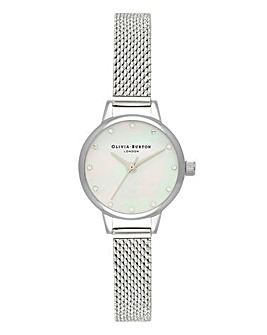 Olivia Burton Mini Dial White MOP Sparkle Markers Mesh Watch