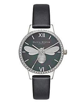 Olivia Burton Midi Sparkle Bezel Black MOP and Silver Watch