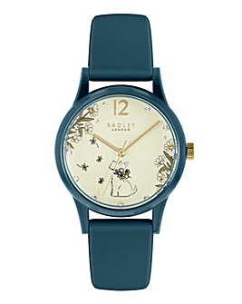 Radley Ladies Teal Silicone Strap Floral Dog Dial Watch