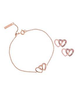 Olivia Burton Classics Rose Gold Interlink Heart Bracelet & Studs Giftset