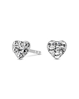 Sterling Silver 925 Pave Paste Heart Stud Earrings