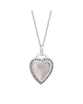 Simply Silver Pearl Heart Necklace