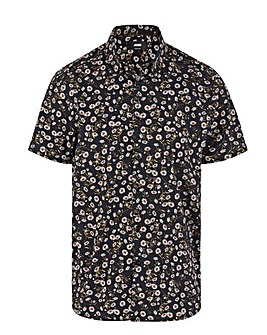 Navy Daisy Print Short Sleeve Shirt Long