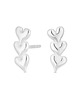 Simply Silver Triple Heart Ear Climber