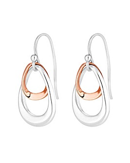 Simply Silver Two Tone Double Earrings