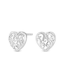 Sterling Silver 925 Mini Filigree Heart Stud Earrings