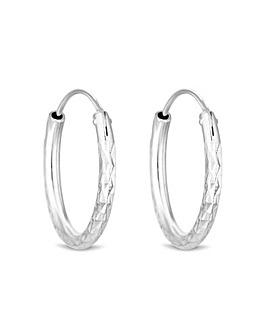 Simply Silver Diamond Cut Hoop Earrings