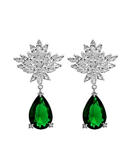 Jon Richard Silver Green Pear Earring