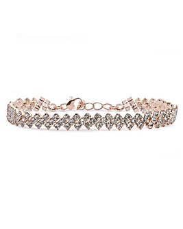 Rose Gold Plated Crystal Diamante Bracelet