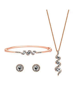 Jon Richard Rose Gold Crystal Twist Set