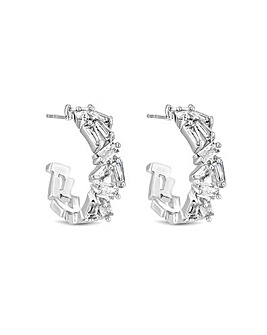 Jon Richard Silver Shatter Hoop Earrings