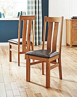 Chester Pair of Solid Oak Dining Chairs