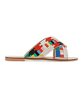 Una Beaded Slip On Sandal Wide Fit