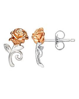 Disney Beauty & The Beast Two Tone Sterling Silver Rose Stud Earrings