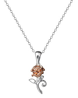 Disney Beauty & The Beast Two Tone Sterling Silver Rose Pendant Necklace