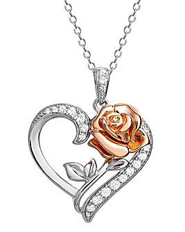 Disney Princess Sterling Silver and Rose Gold Rose Heart Pendant Necklace