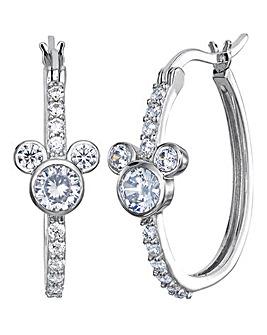 Disney Mickey Mouse Sterling Silver Hoop Earrings