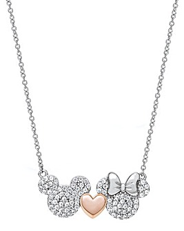 Disney Mickey & Minnie Two Tone Sterling Silver Necklace