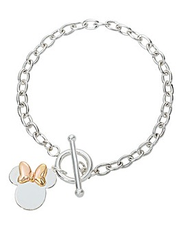 Disney Minnie Two Tone Sterling Silver Toggle Bracelet