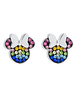 Disney Minnie Mouse Sterling Silver with Rainbow Stones Stud Earrings