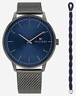 Tommy Hilfiger Gents Gunmetal Mesh Watch and Bracelet Gift Set