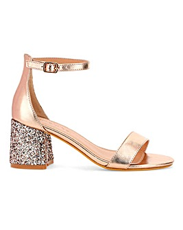 Toni Glitter Heel Sandals Wide E Fit