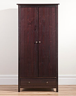 Hastings Wood 2 Door1 Drawer Wardrobe