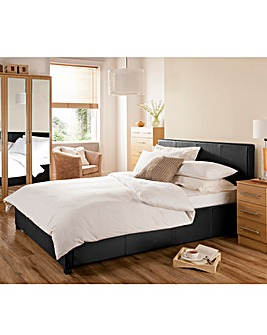 Seville Double Faux Leather Bedstead With Quilted Mattress