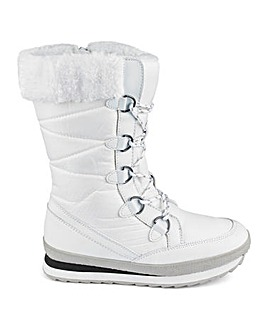 Glamorous White Sports Sole Snow Boot