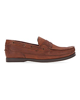 Leather Slip on Boat Shoe Wide Fit