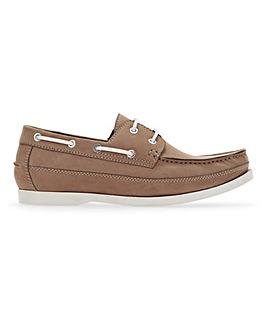Contrast Lace Boat Shoe Wide Fit