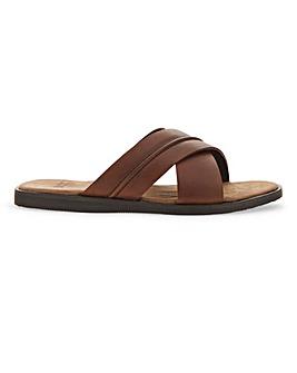 Leather Cross Strap Sandal W Fit