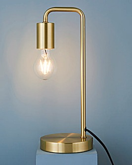 Exposed Bulb Bedside Table Lamp Brass