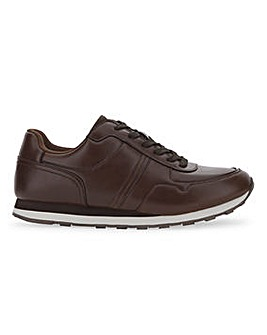 Dean Leather Look Trainers Wide Fit