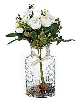 Faux White Rose Bouquet