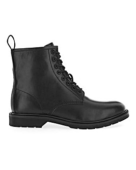 Stanley Leather Look Lace Up Boot Wide Fit
