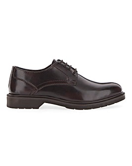 Platt Leather Look Chunky Derby Wide Fit
