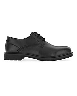 Platt Leather Look Chunky Derby Wide Fit