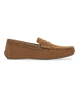 Suede Look Driving Moccasin Wide Fit