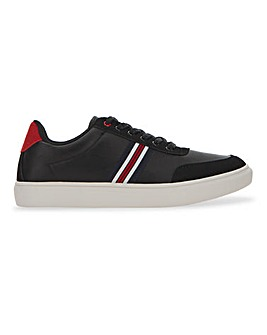 Leather Look Side Stripe Trainer