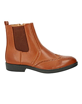Leather Look Brogue Chelsea Boot