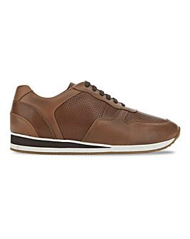 Leather Mix Runner Trainer Wide