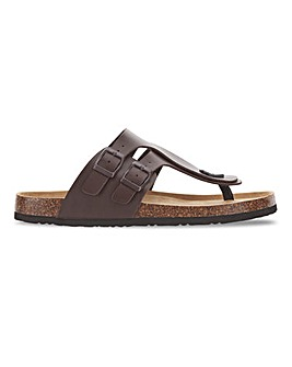 Leather Look Footbed Toe Post Sandal