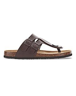 Leather Look Footbed Toe Post Sandal